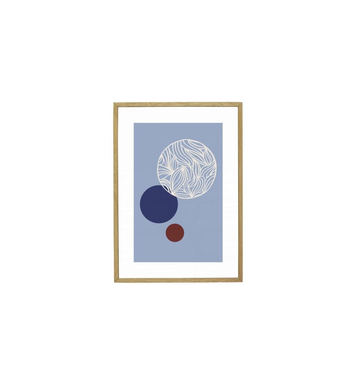 Petit cadre abstrait en bois bleu 21x30cm (photo)