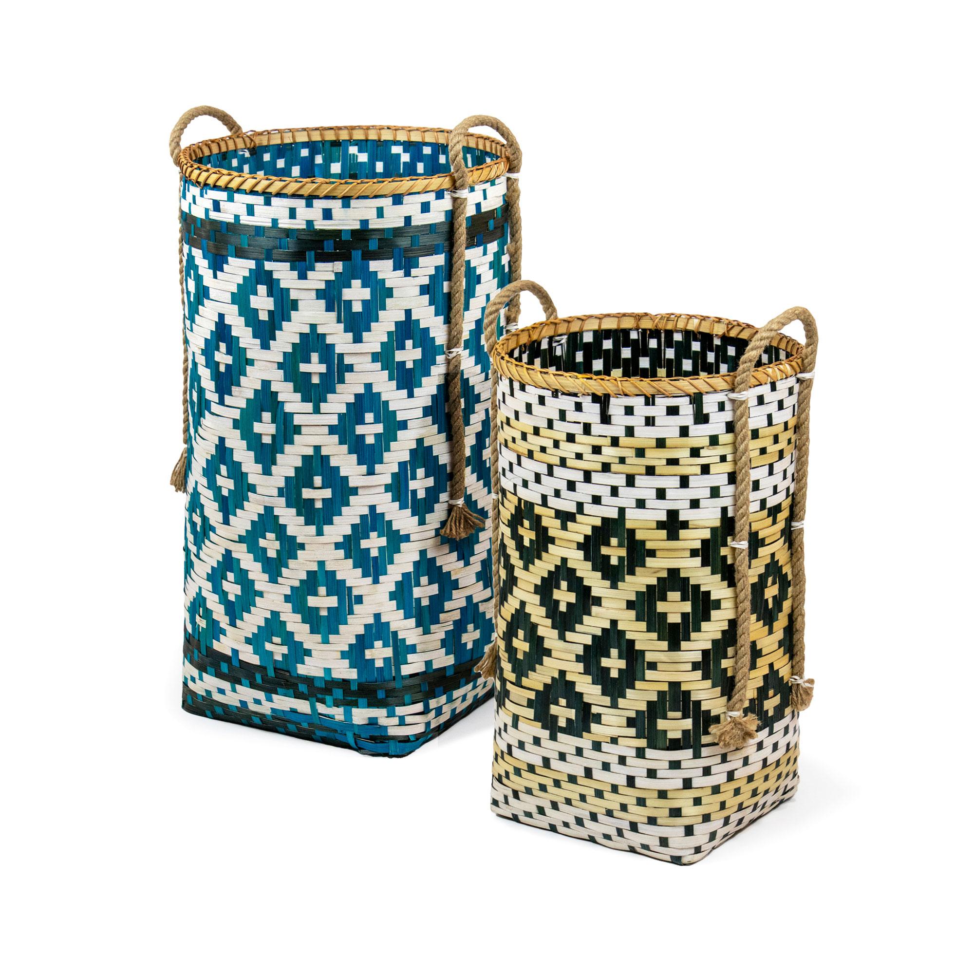 Paniers en bambou teinté - Lot de 2