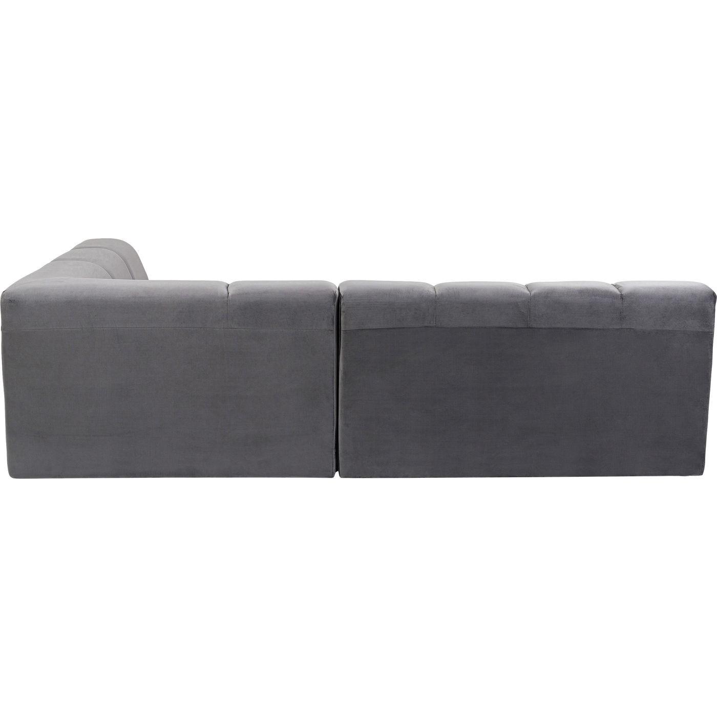 Canapé d'angle droite 4 places en tissu gris