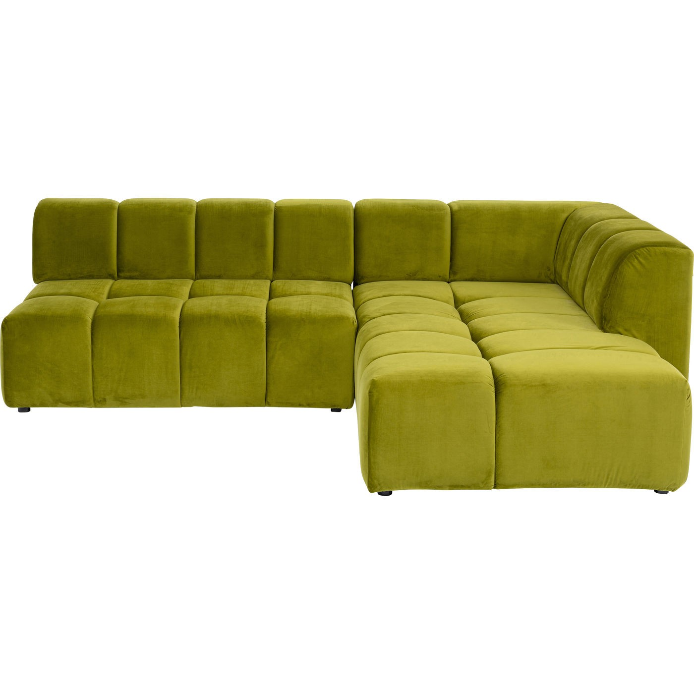 Canapé d'angle 4 places Jaune Tissu Moderne