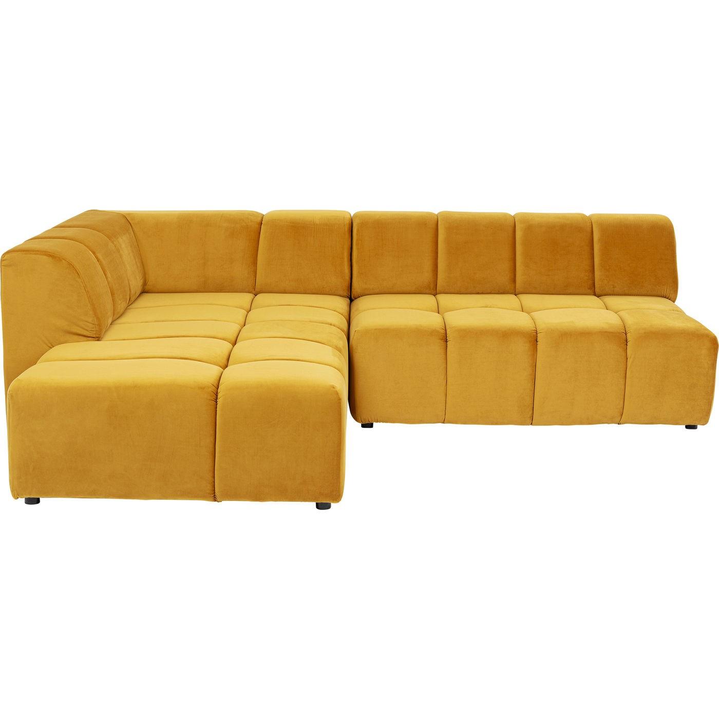 Canapé d'angle gauche 4 places en tissu ocre
