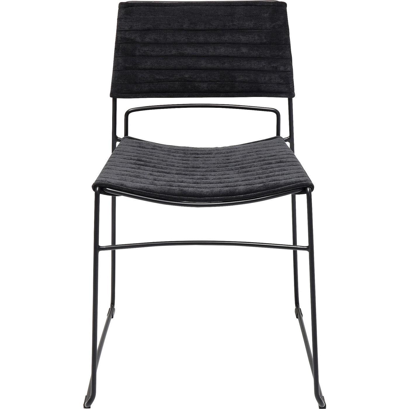 Chaise en tissu noir et acier noir