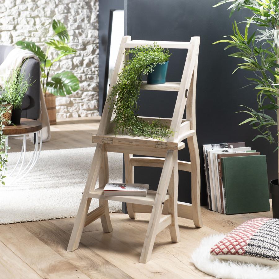 Chaise libraire bois teck blanchi