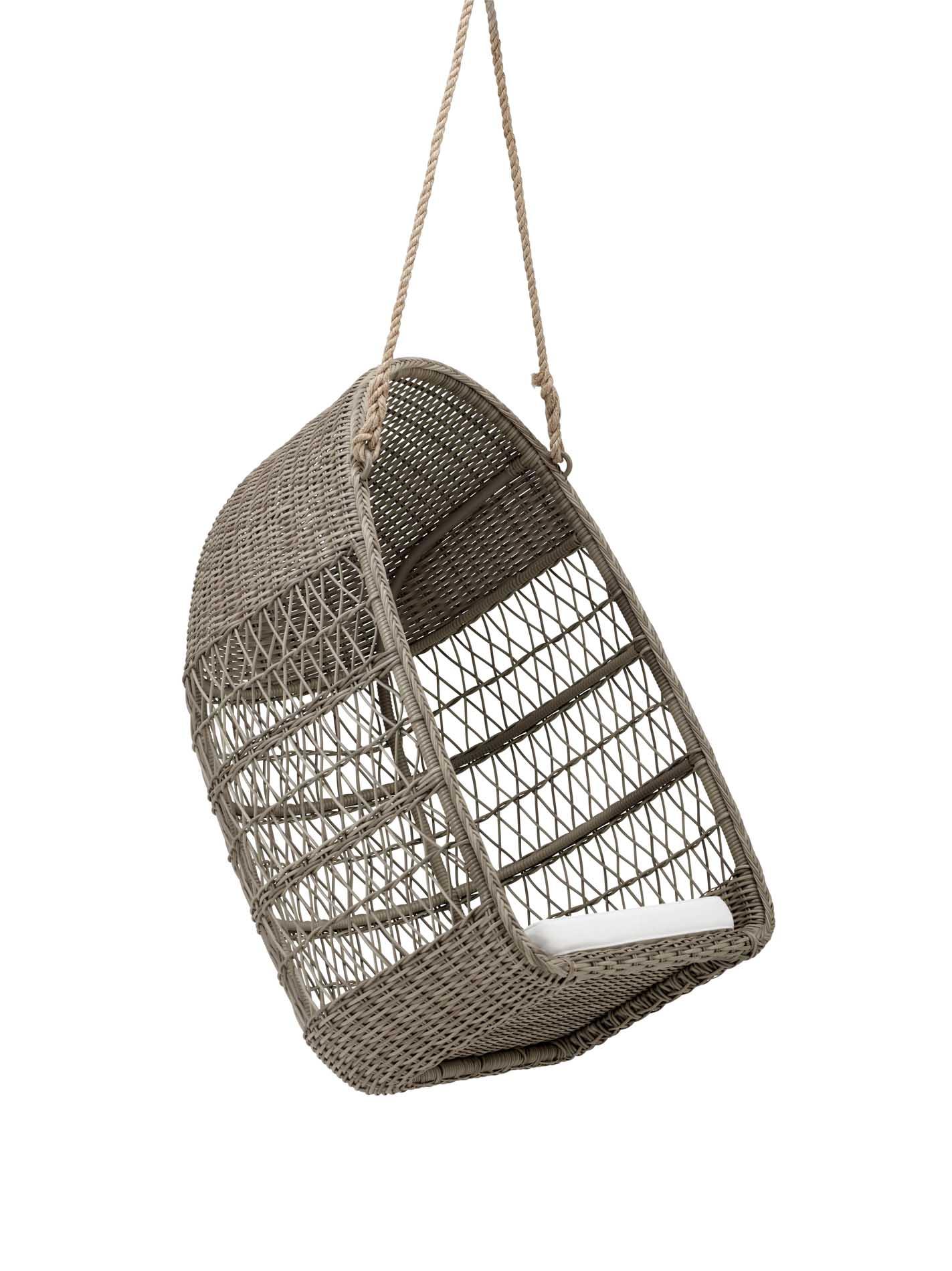 Fauteuil suspendu en aluminium et fibre synthétique taupe