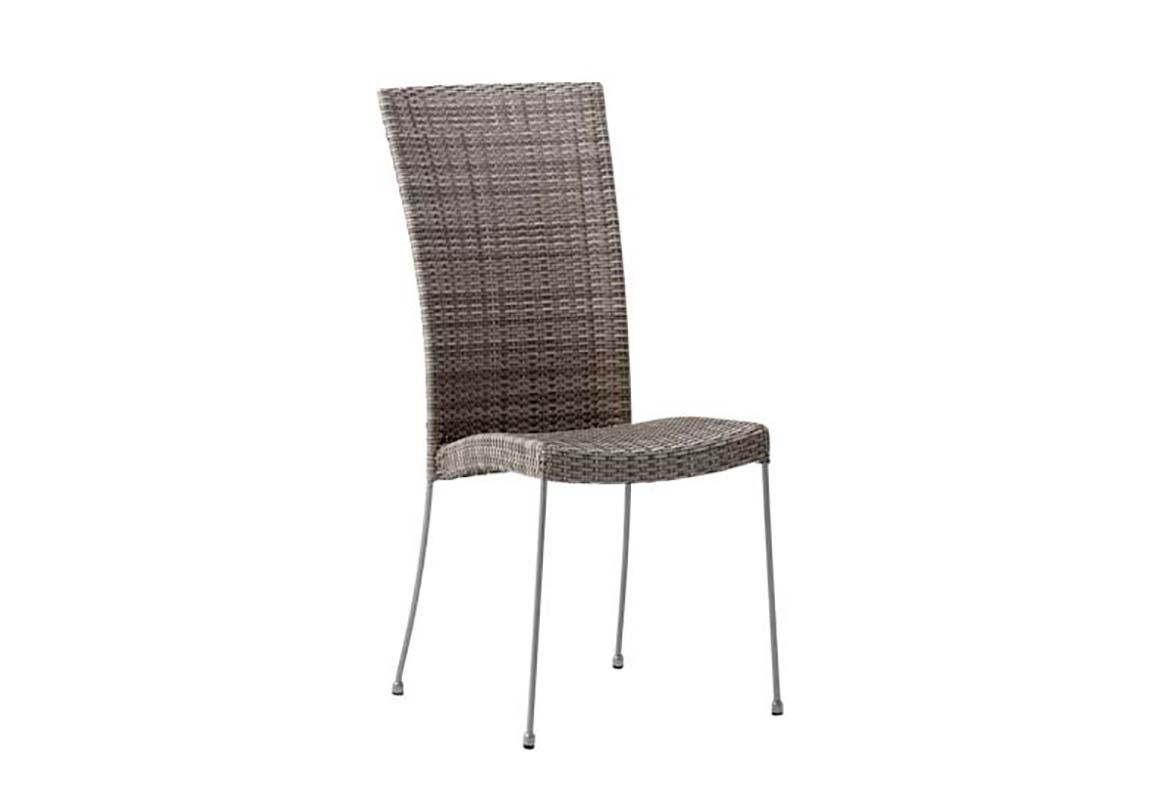 Chaise repas empilable en acier et fibre synthétique taupe