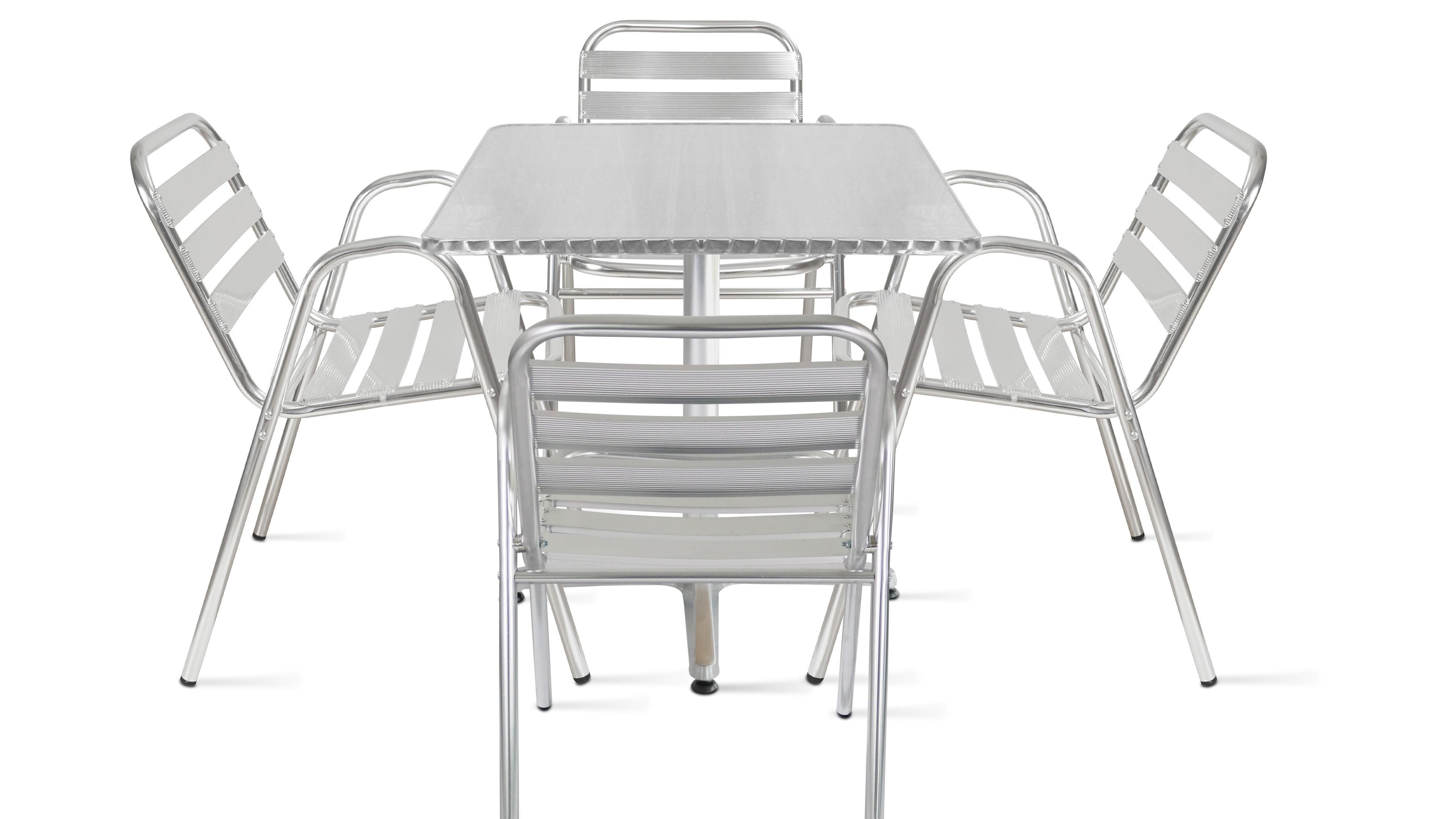 Table de jardin bistrot carrée et 4 fauteuils en aluminium