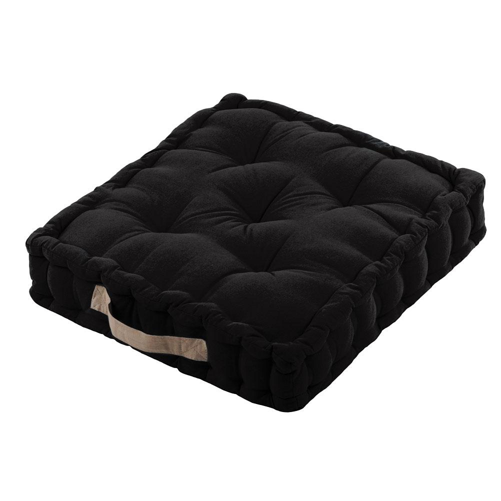 Coussin de sol épais en coton noir 45x45