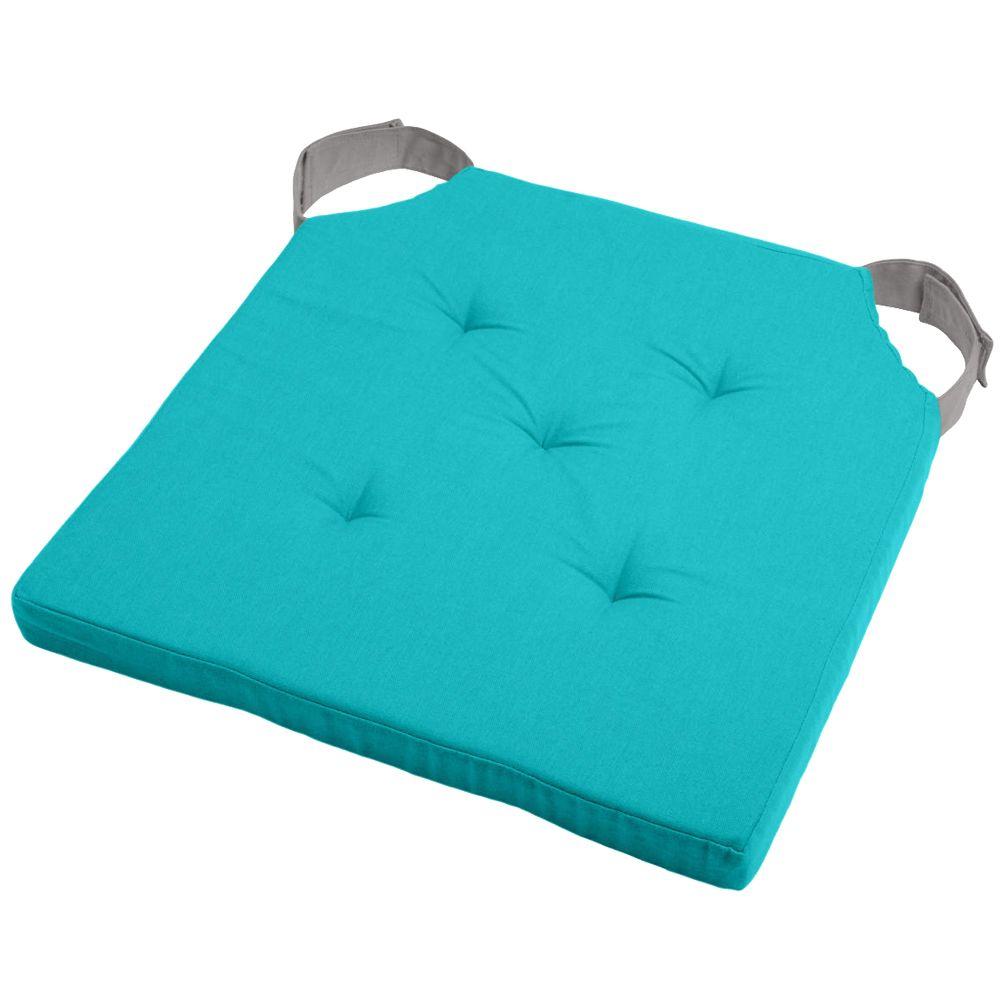 Coussin de chaise attaches scratchs turquoise et gris 38x38