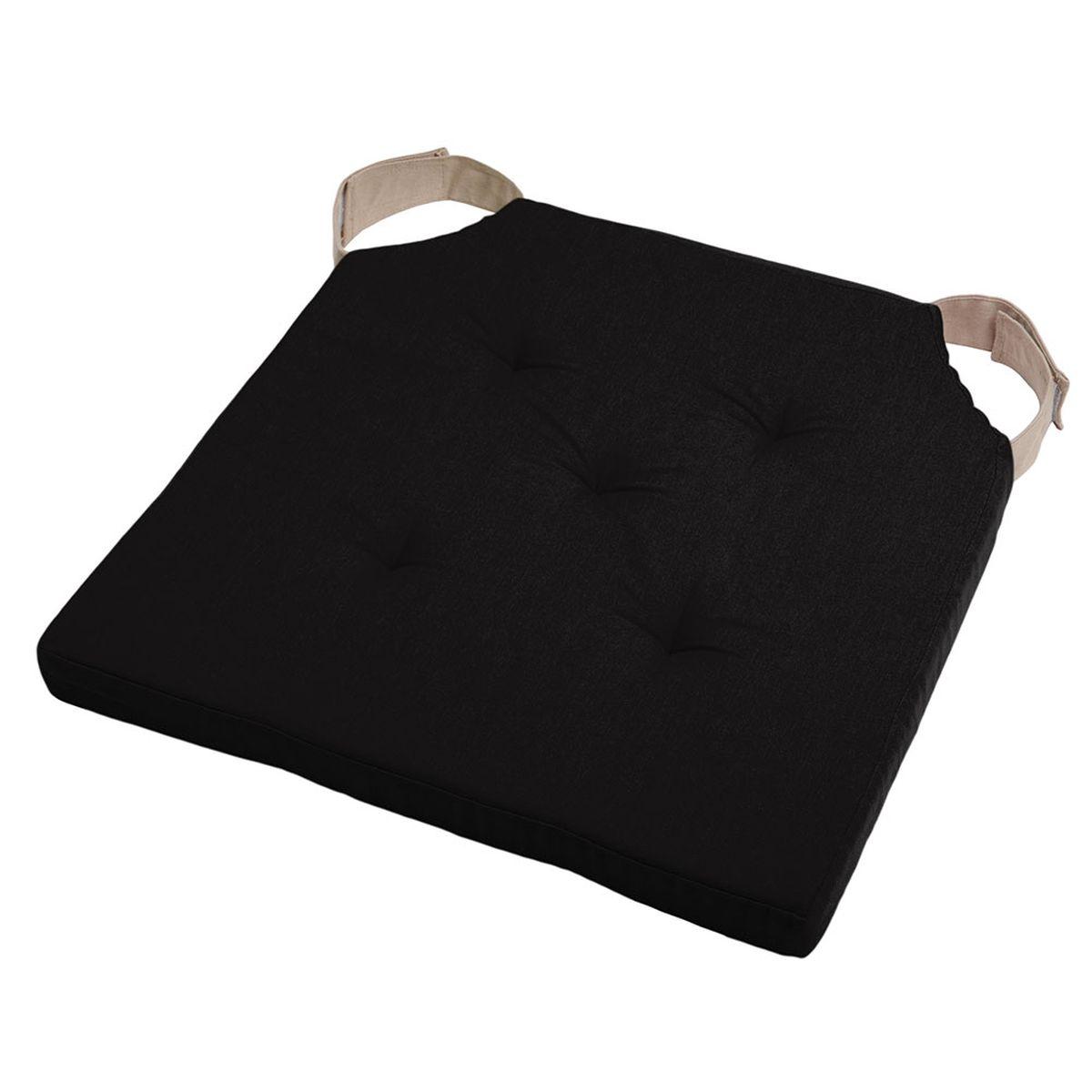 Coussin de chaise attaches scratchs noir 38x38