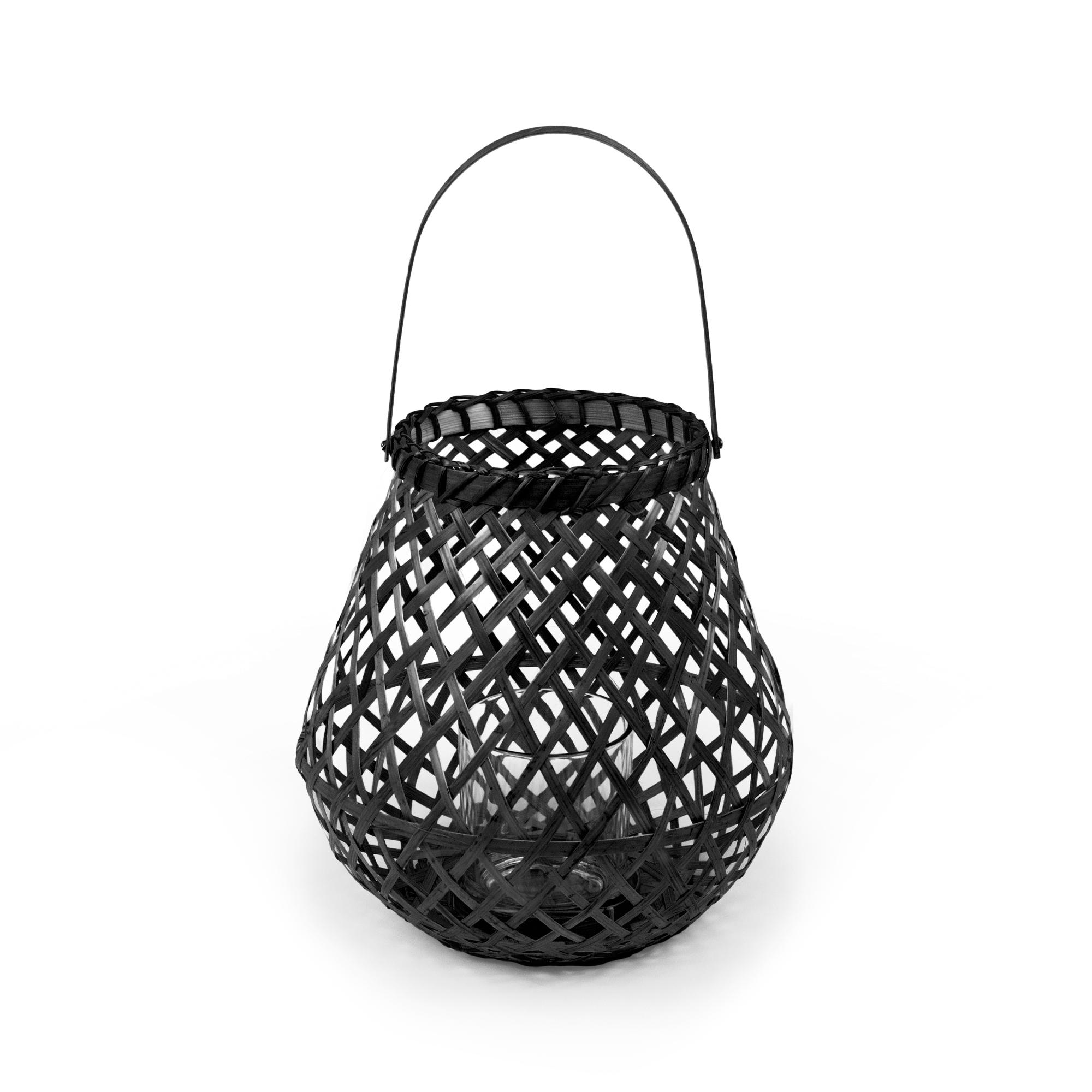 Lanterne en bambou naturel tressé noir H25cm