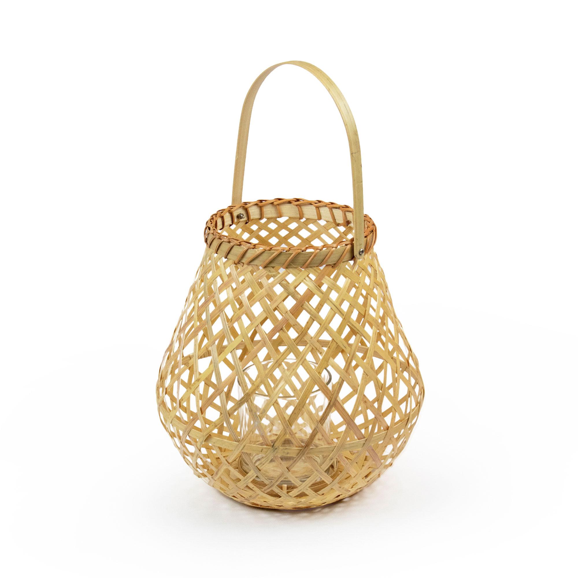 Lanterne en bambou naturel tressé H25cm