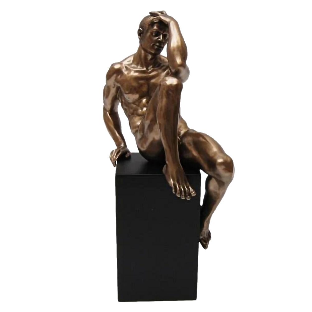 Statuette en résine homme nu H24cm