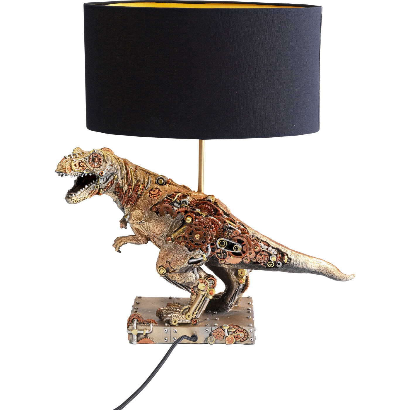 Lampe tyrannosaure steampunk en polyrésine et abat-jour noir