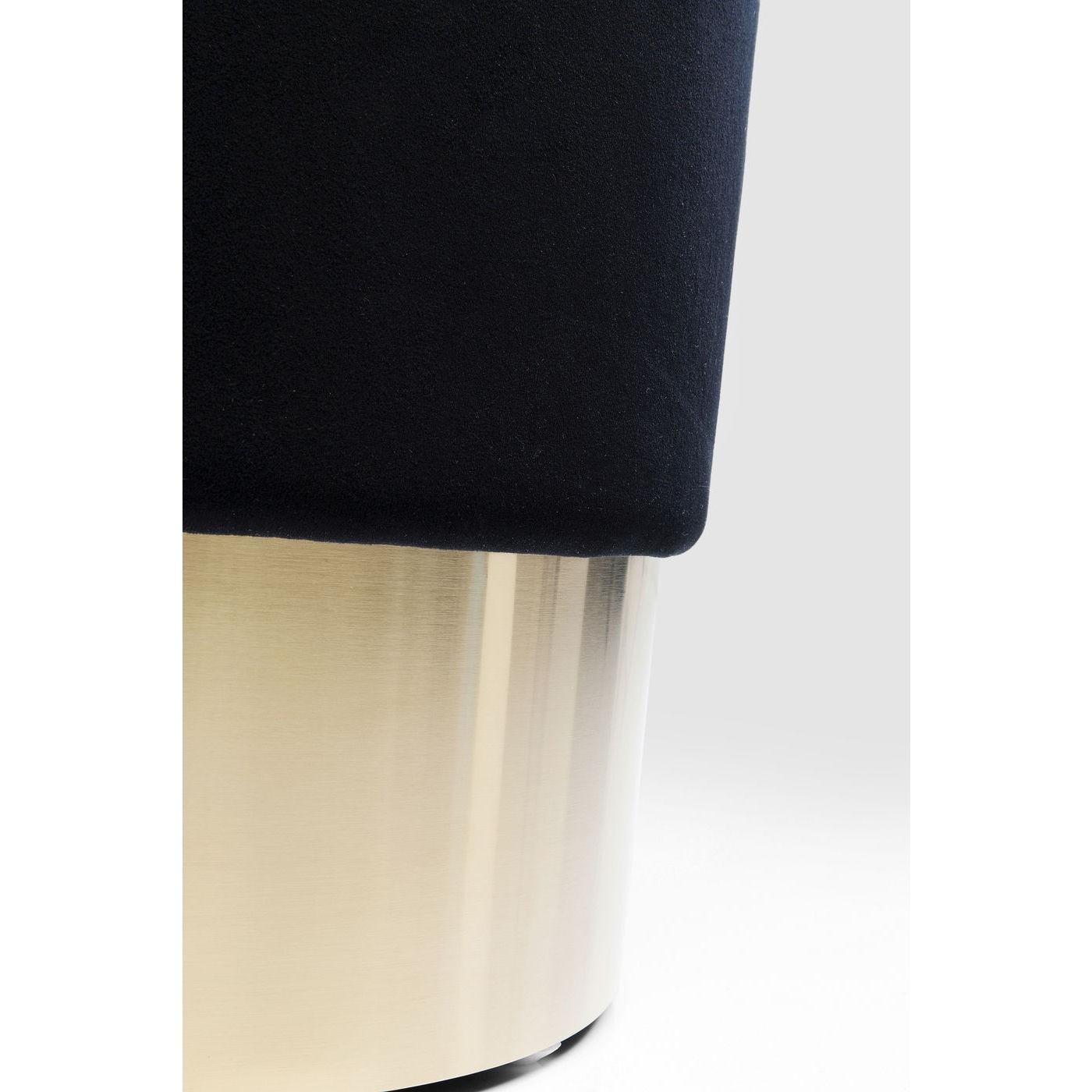 Tabouret en velours noir et acier doré D35