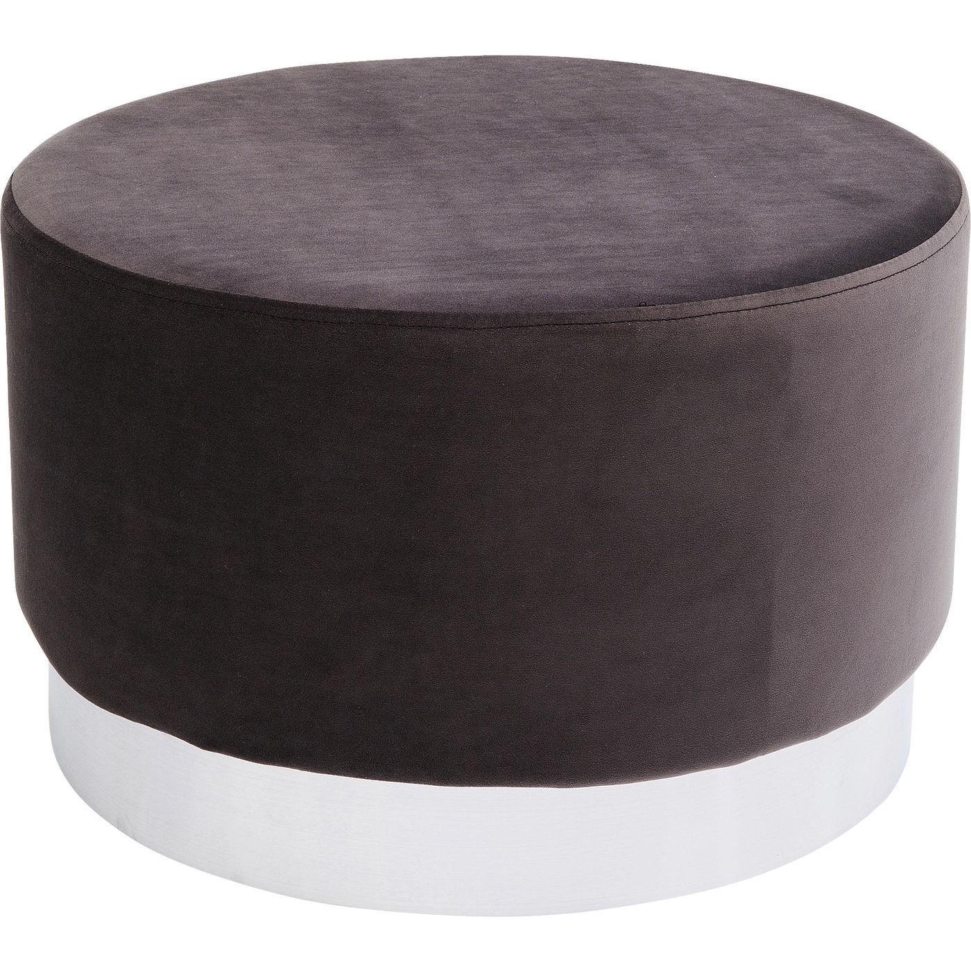 Tabouret en velours gris anthracite et acier chromé D55