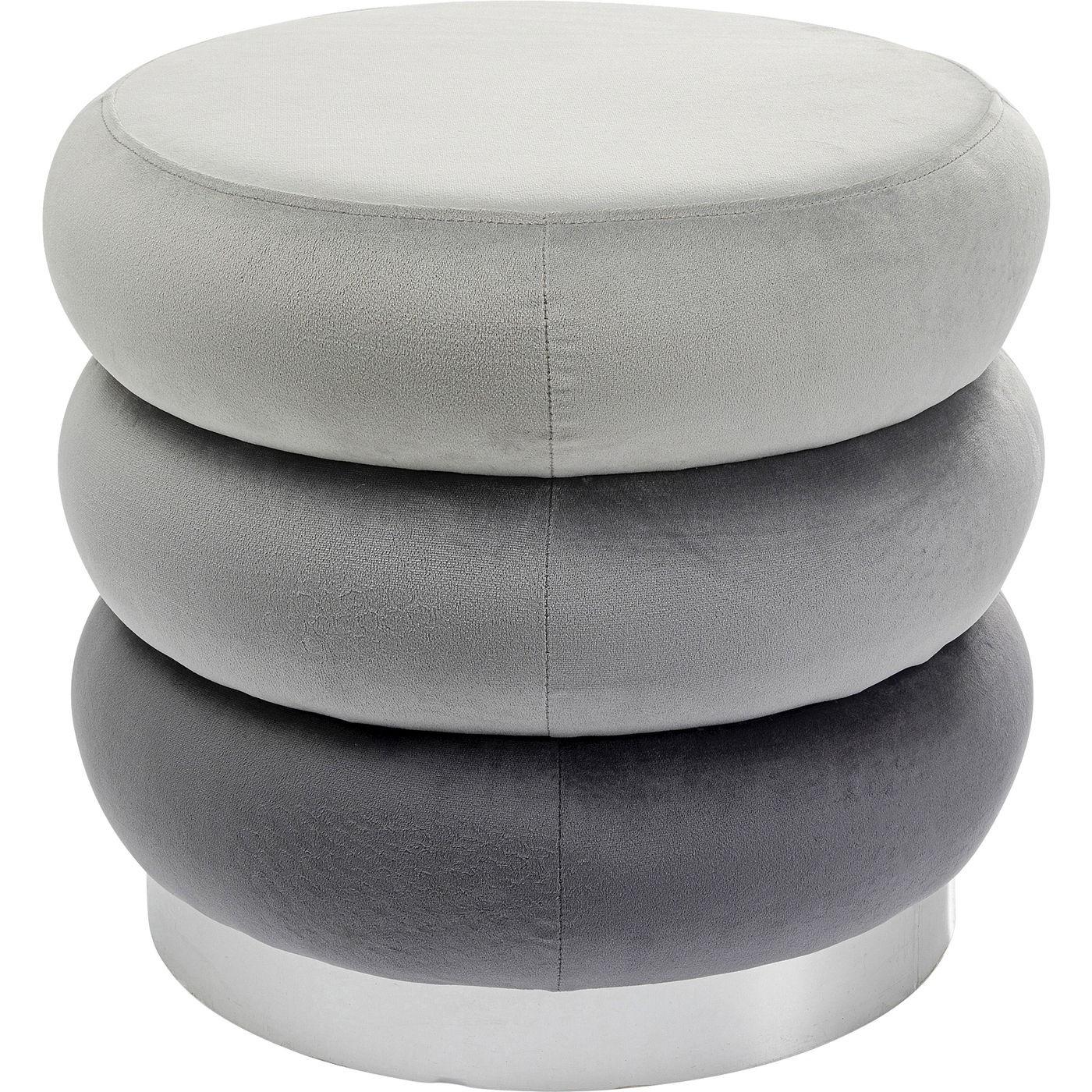 Tabouret en velours gris et acier chromé