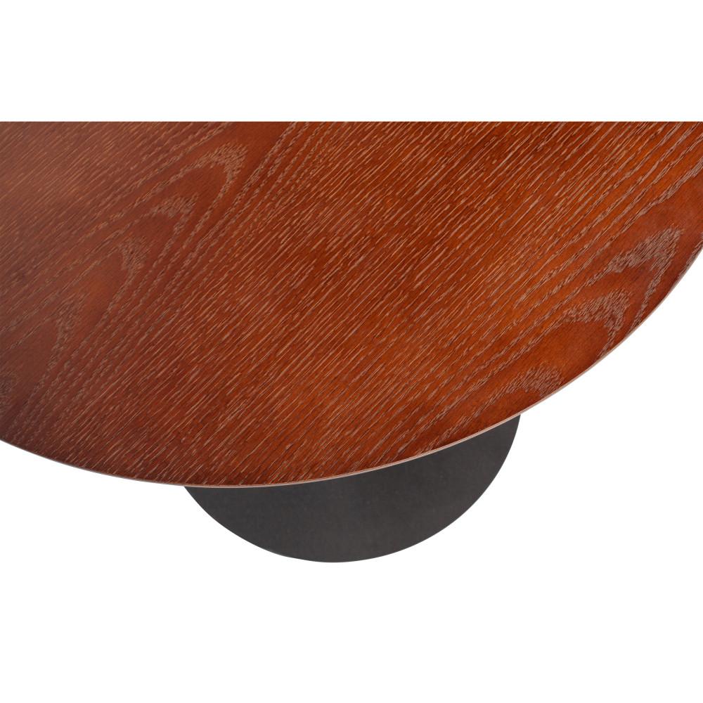 Table basse en métal et bois D60cm noyer