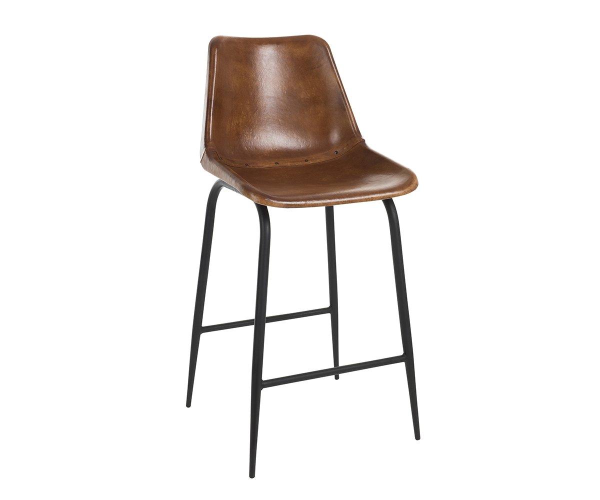 Tabouret vintage en cuir et métal noir marron