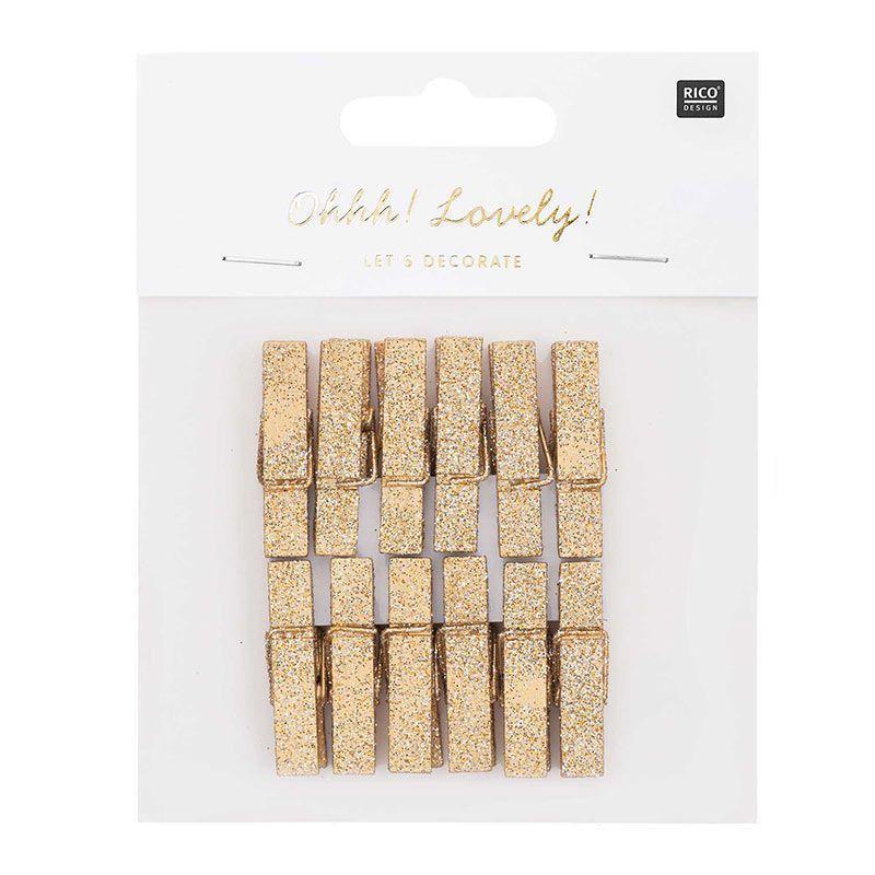 12 pinces à linge grand format en bois pailletées dorées