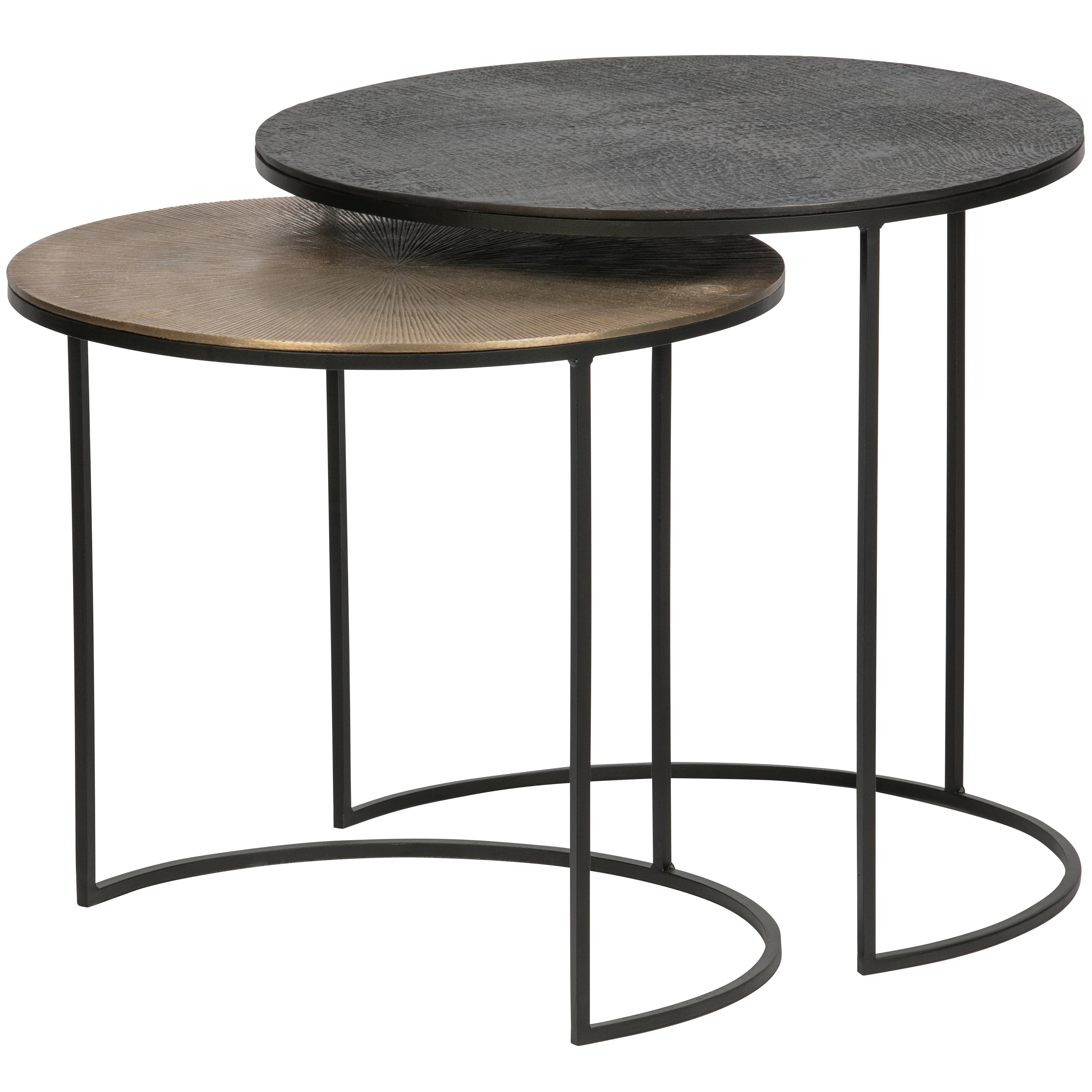 2 tables basses gigognes en métal noir  et  or