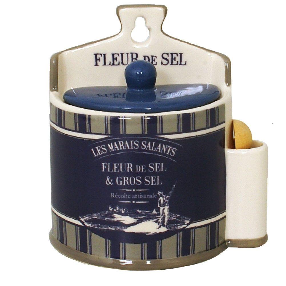 Boite à sel bleue en céramique avec cuillère