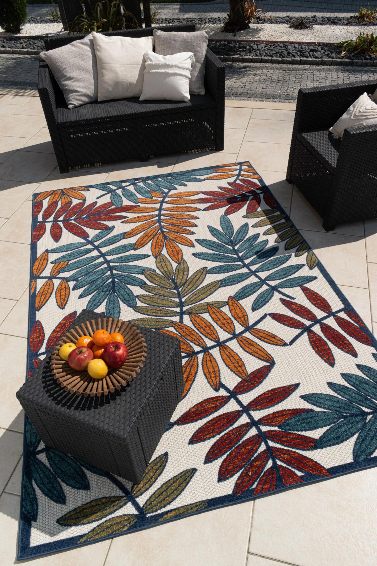 Tapis extérieur multicolore au motif palmier 200x290