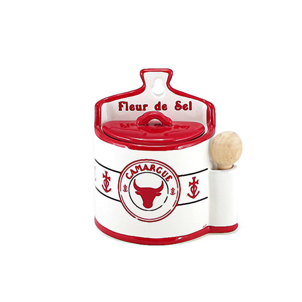 Petite boite à sel en faïence avec cuillère