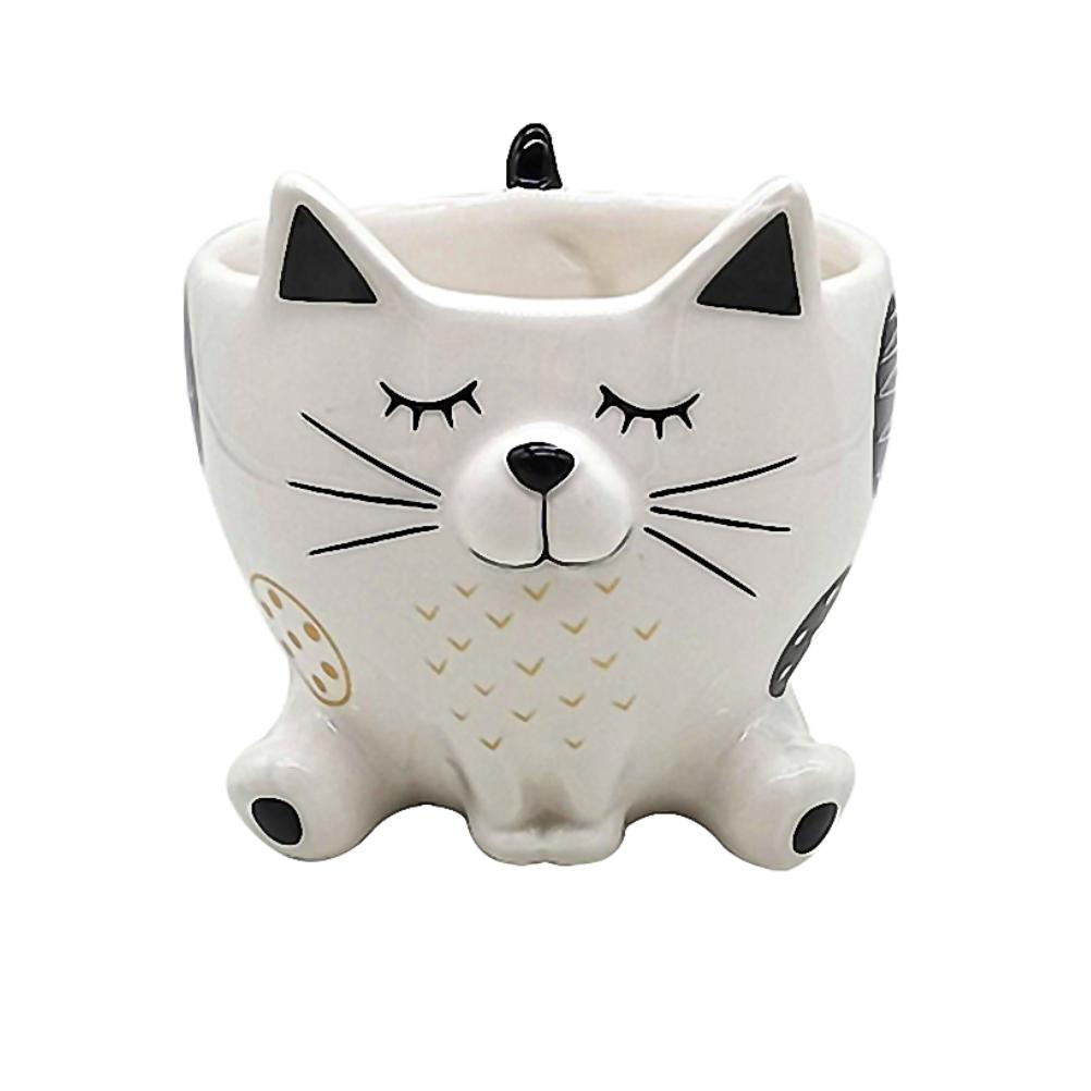 Cache pot de fleurs chat blanc H8cm (photo)