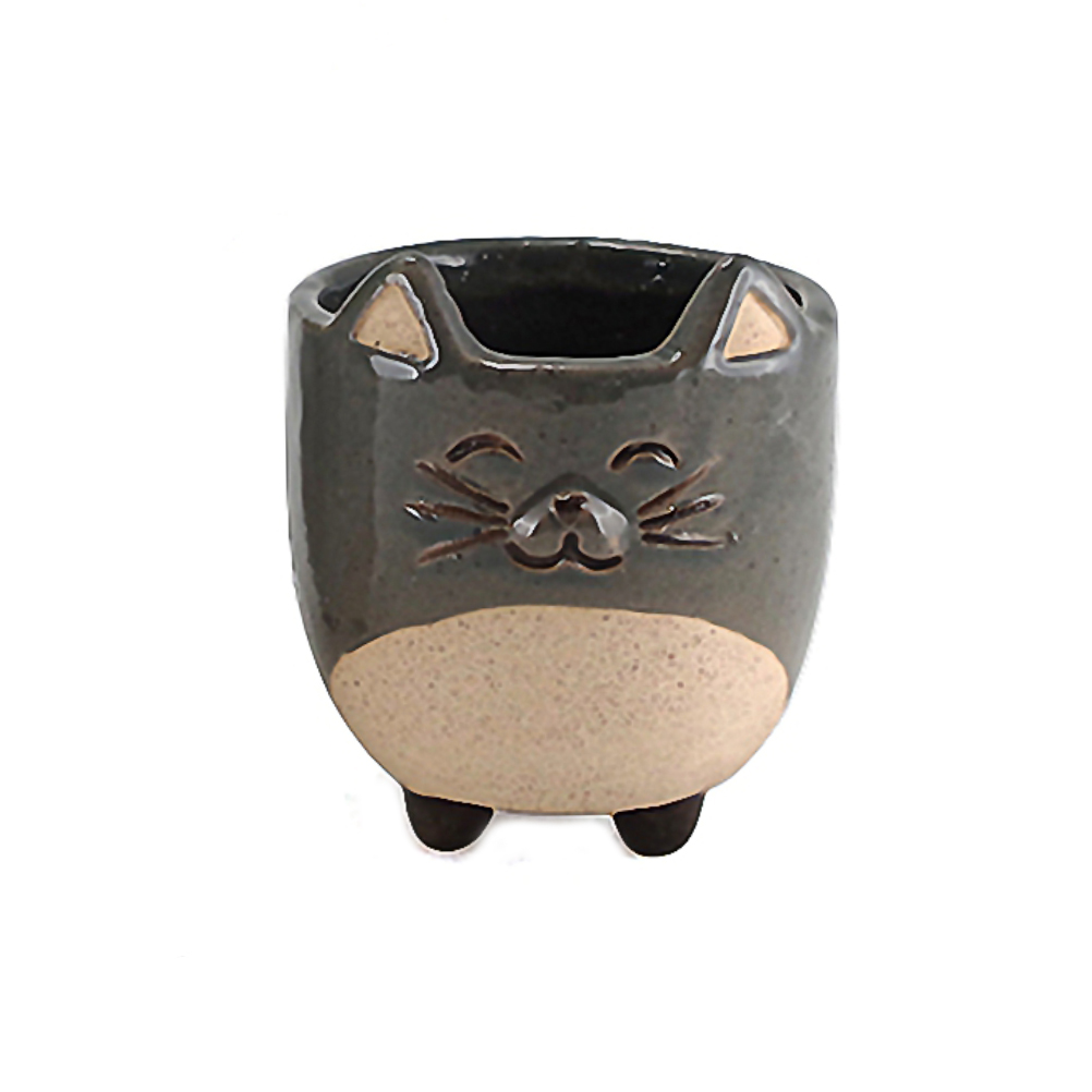 Cache pot de fleurs chat gris H8,2cm (photo)