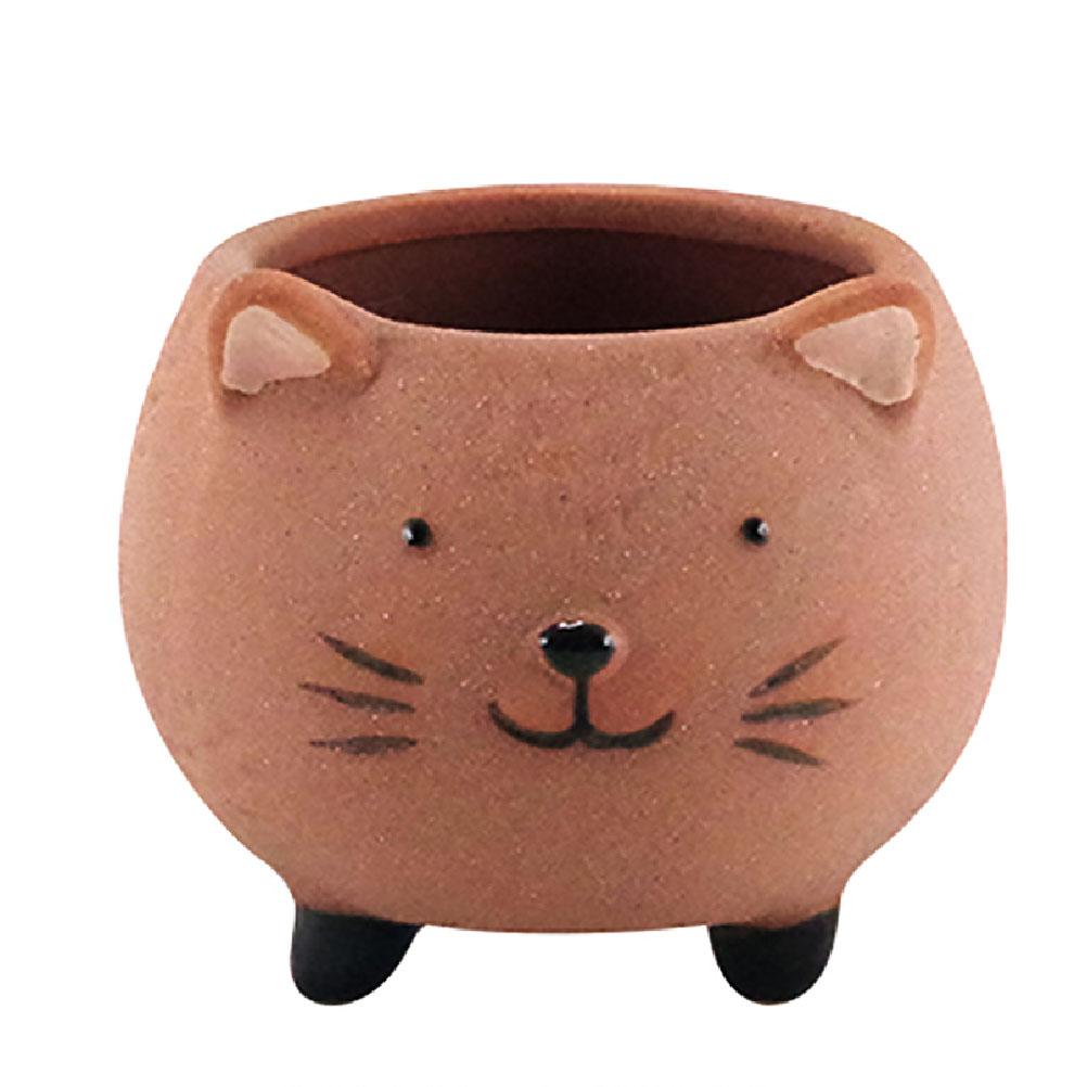 Cache pot de fleurs chat en terre cuite H8cm (photo)
