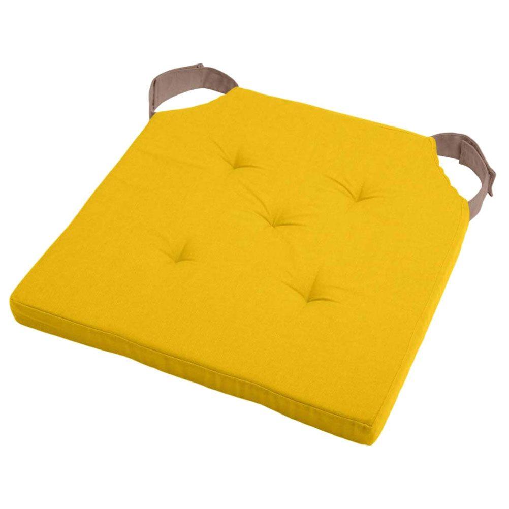 Coussin de chaise attaches scratchs jaune et taupe 38x38