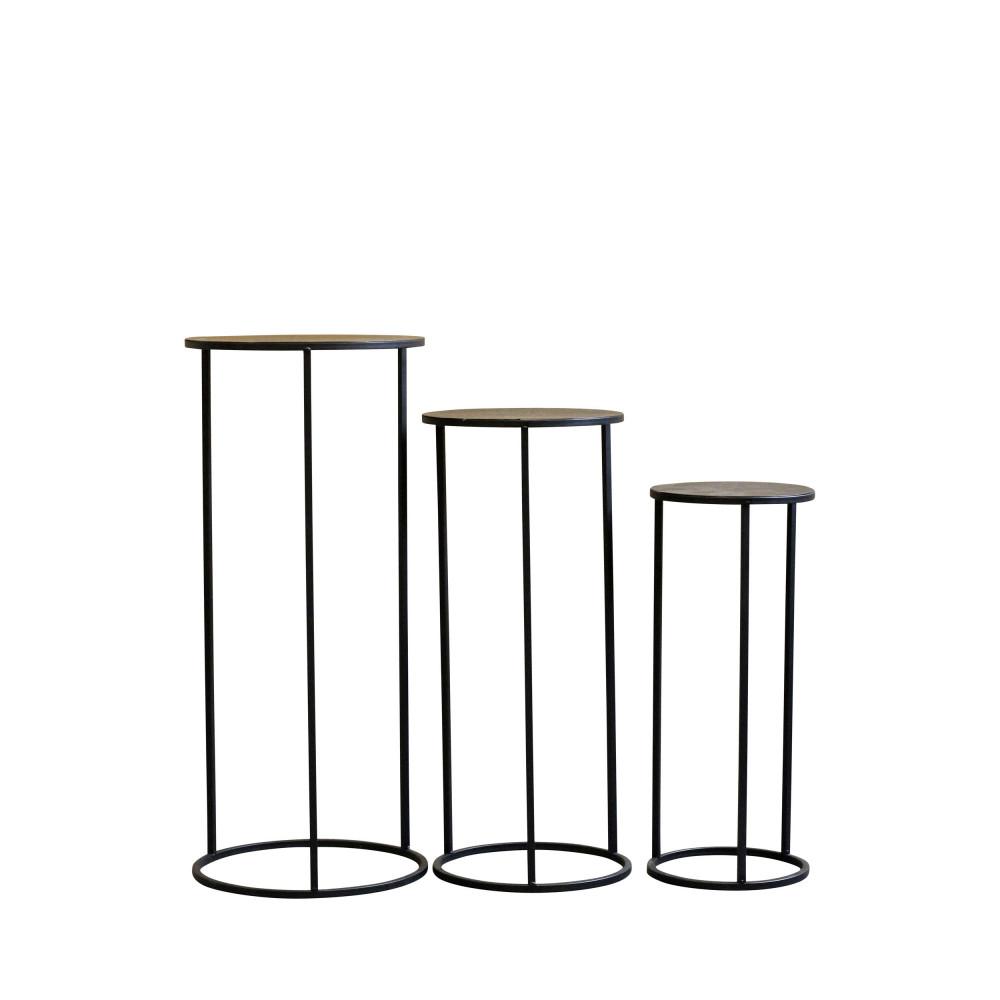 3 sellettes rondes en métal noir