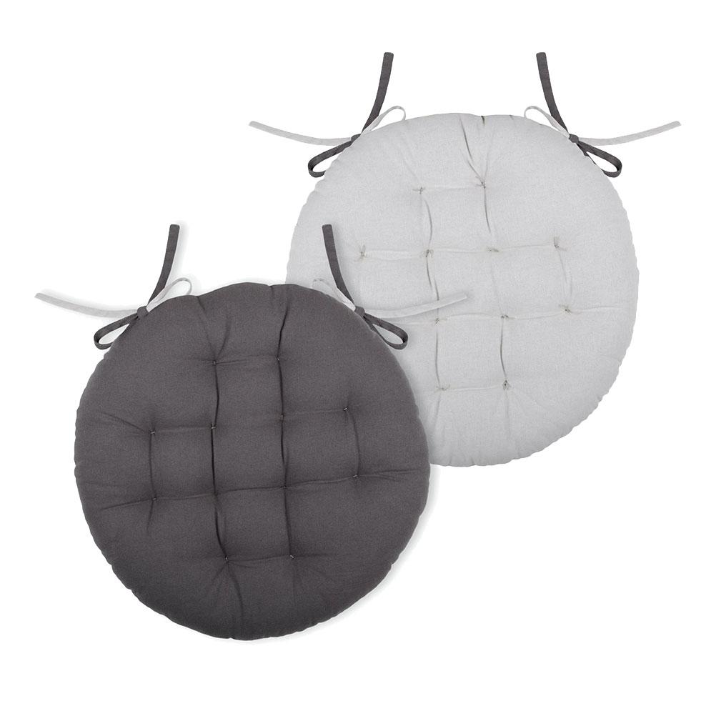 Coussin de chaise rond gris et perle D38cm