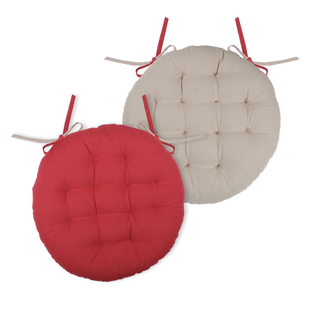 Coussin de chaise rond rouge et lin D38cm