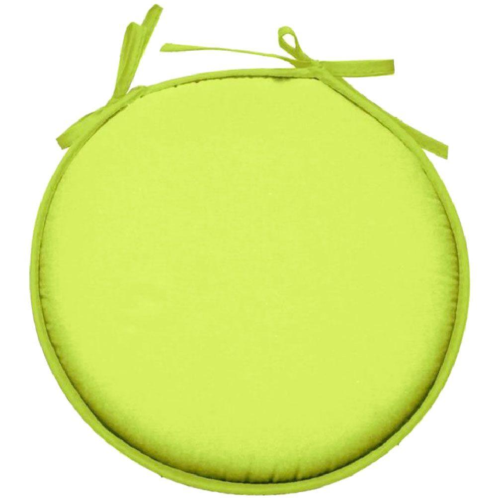 Galette de chaise polyester vert tilleul D40cm