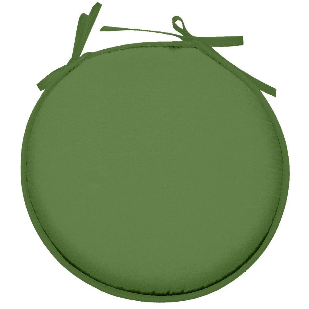 Galette de chaise polyester vert avocat D40cm