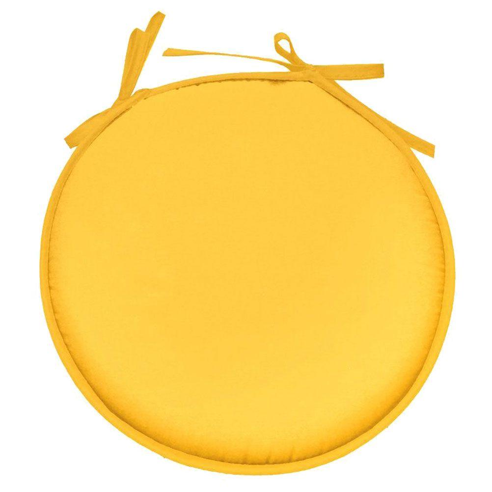 Galette de chaise polyester jaune D40cm