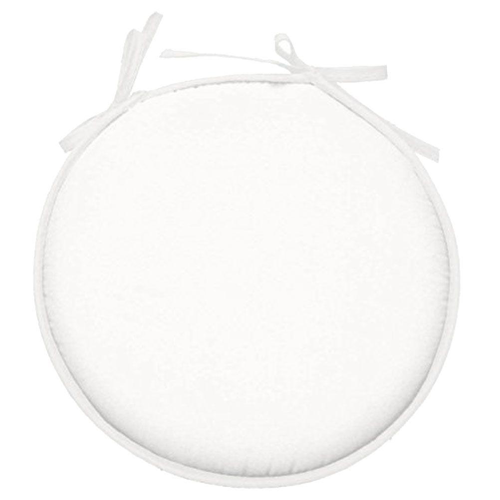 Galette de chaise polyester blanc D40cm