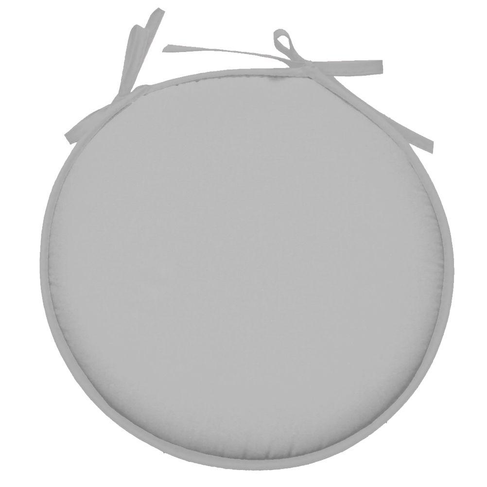 Galette de chaise polyester gris perle D40cm
