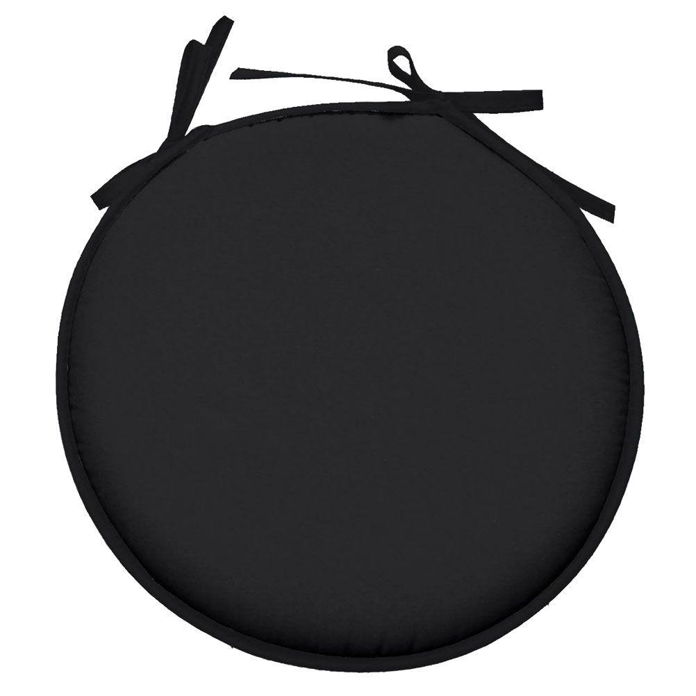Galette de chaise polyester noir D40cm