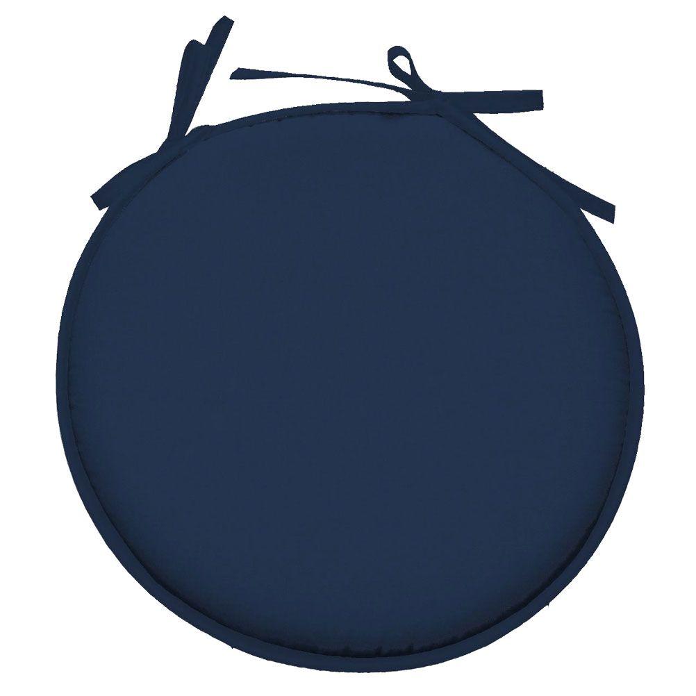 Galette de chaise polyester bleu pétrole D40cm