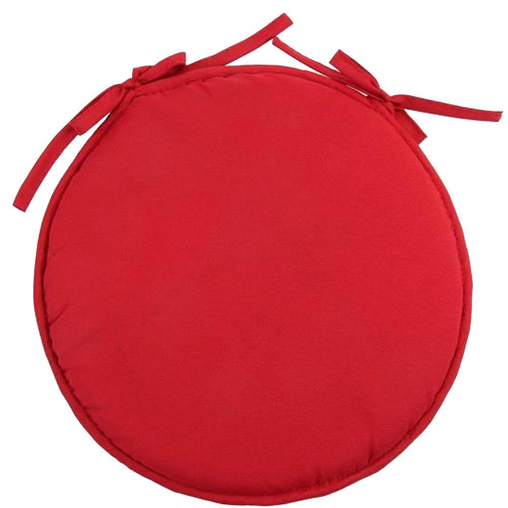 Galette de chaise polyester rouge D40cm