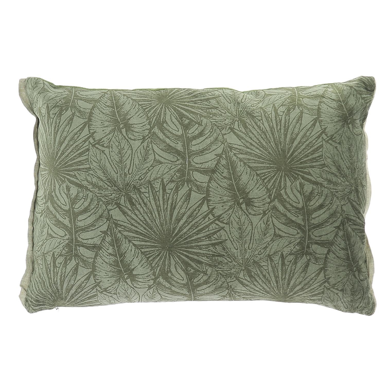 Coussin en velours de coton imprimé 35x50 cm olive