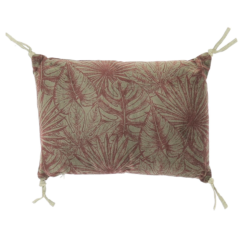 Coussin en velours de coton imprimé 25x35 cm rubis
