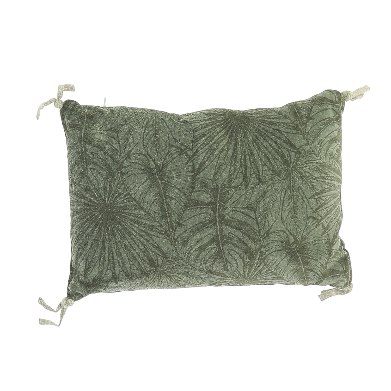 Coussin en velours de coton imprimé 25x35 cm olive
