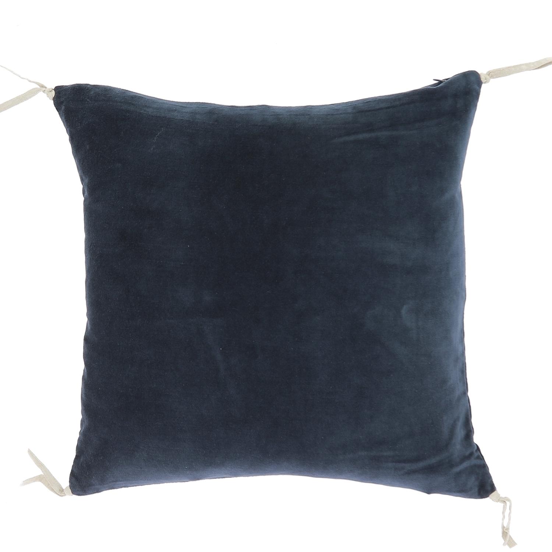 Coussin en velours de coton 45x45 cm marine
