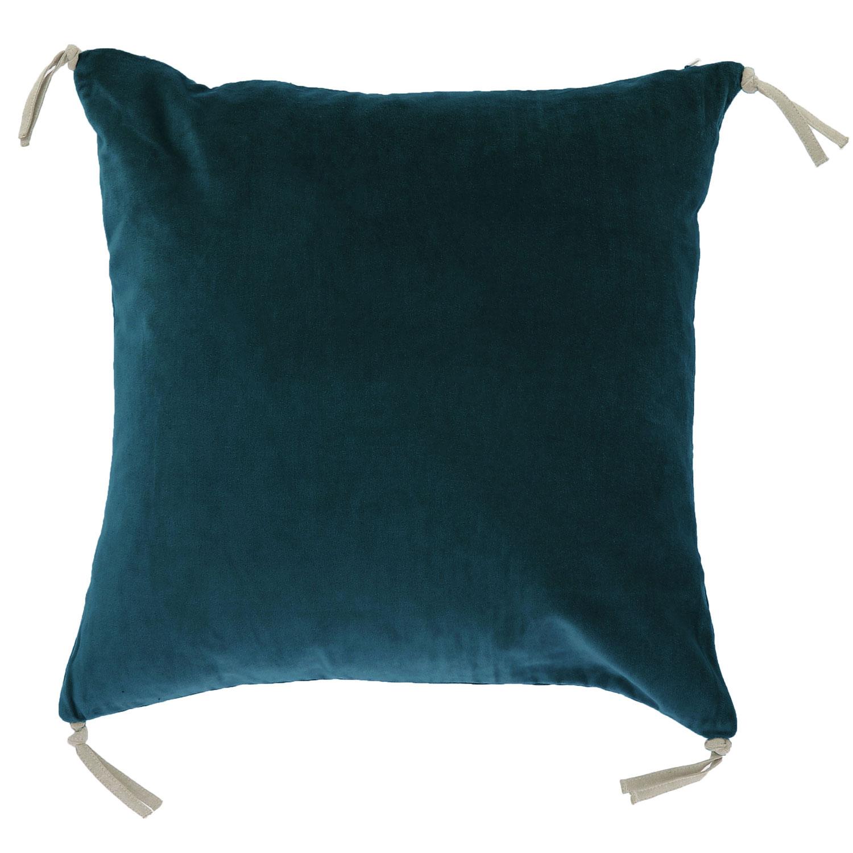 Coussin en velours de coton 45x45 cm bleu orage