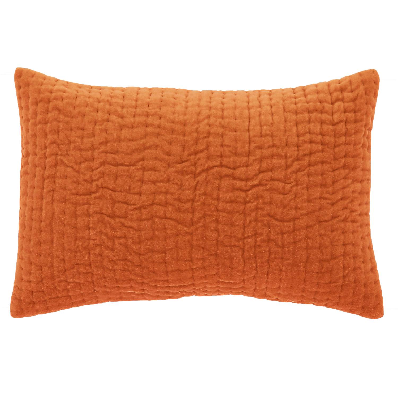 Coussin en velours de coton 30x45 cm orange