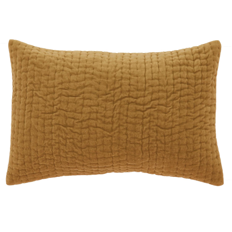 Coussin en velours de coton 30x45 cm tabac