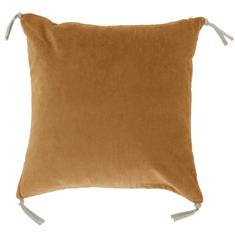 Coussin en velours de coton 45x45 cm tabac